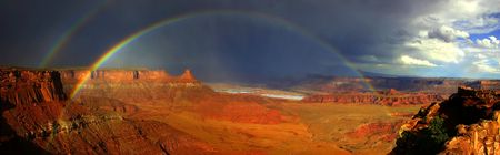 Storm in Canyonlands: Rainbows showing up as the storm passes through Canyonlands near Dead Horse Park in Utah