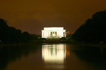 Lincoln Memorial reflected in the pool at night, Washington DC