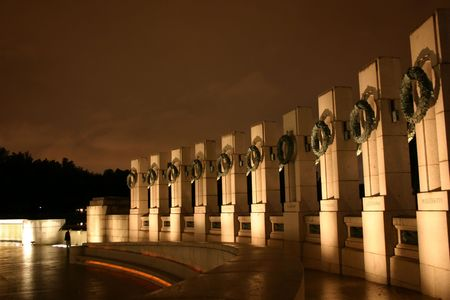 World War II memorial in Washington DC at night, partial view