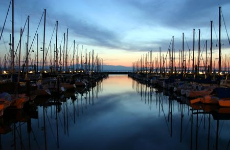Sunset with view of boats in Shilshole Marina, Ballard, Seattle,  photo