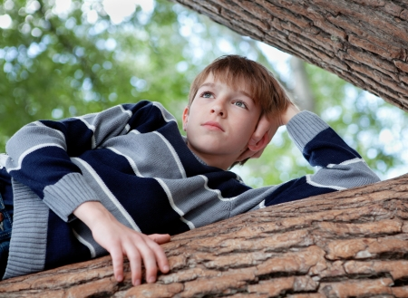 dreamy eyed: Teenager is in tree and dreams, summer, walk