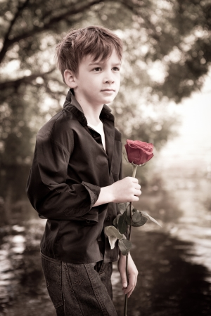 rose tree: Boy with rose in his hand