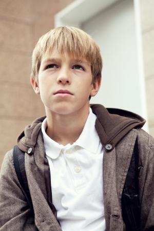 sad teen: Portrait of  sad teen outdoor
