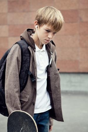 Portrait of  sad teen outdoor photo