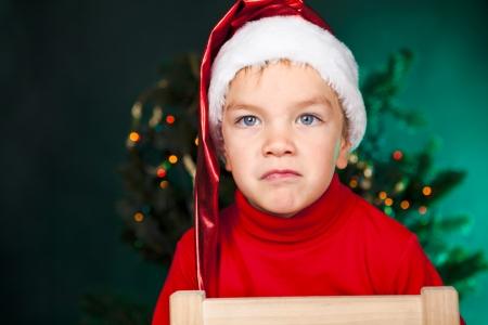 Small child in santa hat
