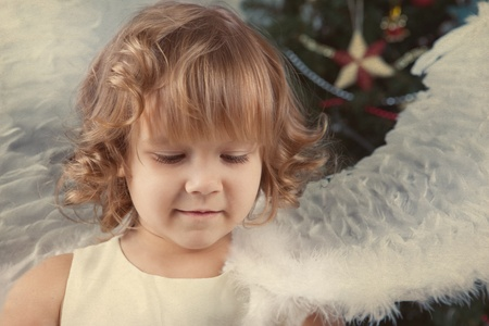 Portrait of nice curly girl, christmas photo