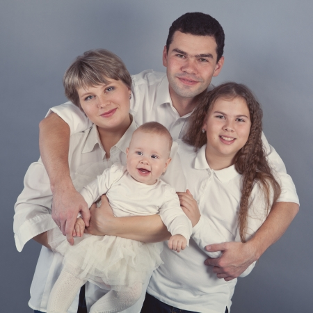 Retrato de una familia feliz, de interior photo