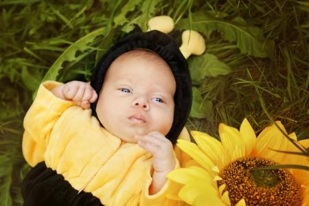 Portrait of newborn dressed as bee photo