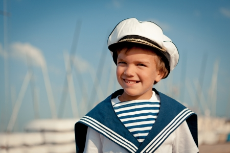 Portrait of young sailor near yacht, outdoor Stock Photo