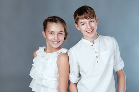 Portrait of cheerful young people, studio photo