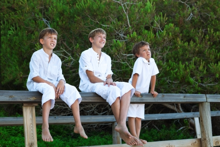 Portrait of three brothers, outdoor photo