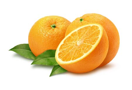 Oranges isolated on a white background with a path. Stock Photo