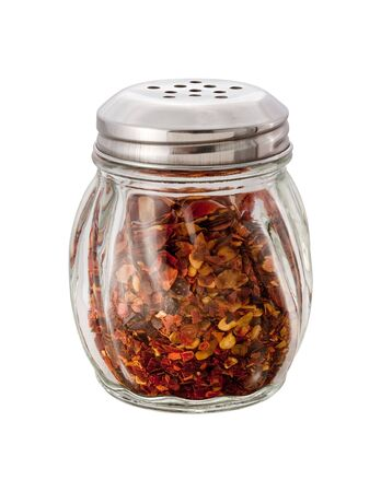 Crushed Red Pepper Shaker on white