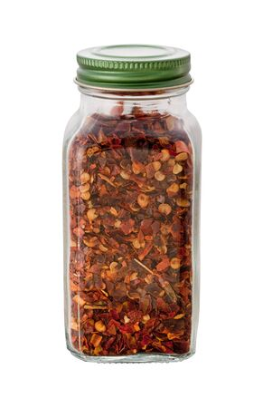 Crushed Red Pepper Bottle on white