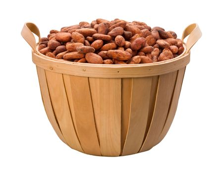 Cacaoboon Basket geïsoleerd op een witte achtergrond