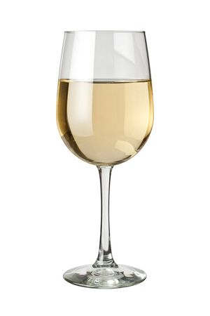 white wine: White Wine and glass isolated on white