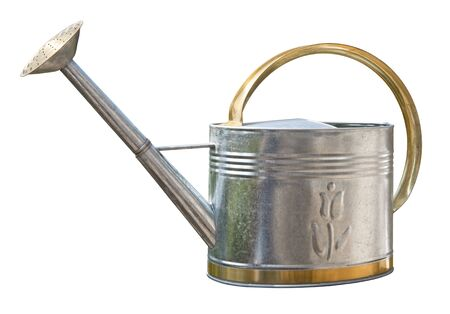 Antique Watering Can isolated on white Imagens