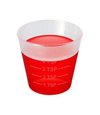 Cough Syrup Medicine Cup isolated over white background Stock Photo - 5612469