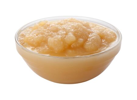 Applesauce in a Glass Bowl Stock Photo