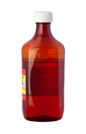 tos: Botella de medicina cough syrup aislados en blanco
