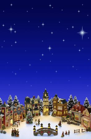 Christmas Village with snow and stars. Room for copy space Stok Fotoğraf - 5858791