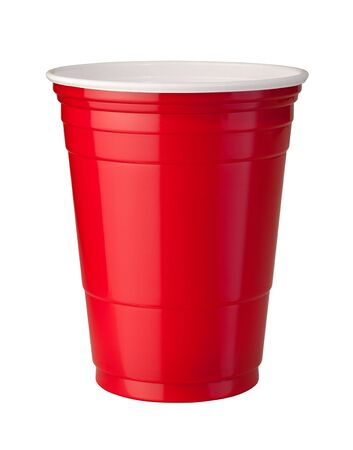 Rode Plastic Cup Stockfoto