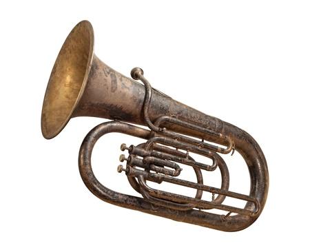 tarnished: Antique Tuba isolated on white