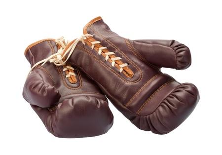 padding: Vintage Boxing Gloves isolated on a white background Stock Photo