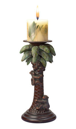candle holder: Palm Tree Candlestick Holder isolated on white