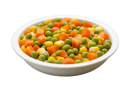 Peas, Carrots, Corn, in a bowl with clipping path Stock Photo