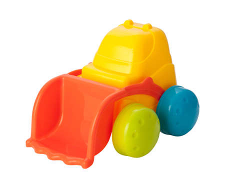 loader: Toy Front Loader isolated on white Stock Photo