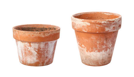 limescale: Two Old Flowerpots with limescale Stock Photo