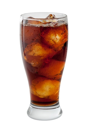 Soda Cola with Ice Isolated on white Stock Photo - 15146811