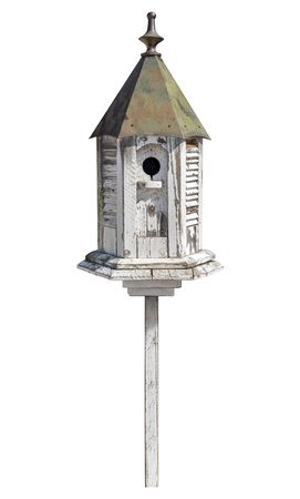 Old Birdhouse Isolated on white  Stock Photo - 15497529