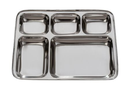 Silver Metal Tray Isolated with clipping path on a white background Stock Photo - 16218725