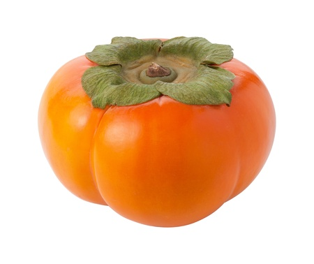 Persimmon Isolated with clipping path on a white background