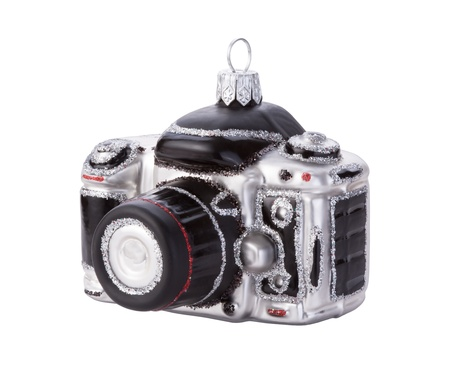 Camera Christmas Ornament Isolated with clipping path on a white background Stock Photo - 17046049
