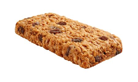Oatmeal Raisin Cereal Bar Isolated on a white background Stock Photo - 17089535