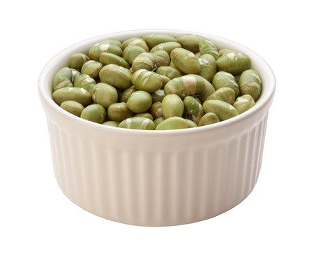 Roasted Edamame Beans Isolated with clipping path on a white background photo