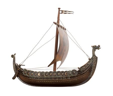 Viking Ship geïsoleerd op witte achtergrond Stockfoto