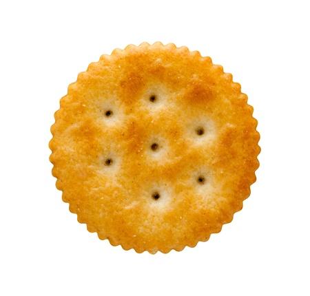 galletitas: Galleta redonda aislada en blanco con un trazado de recorte. Foto de archivo