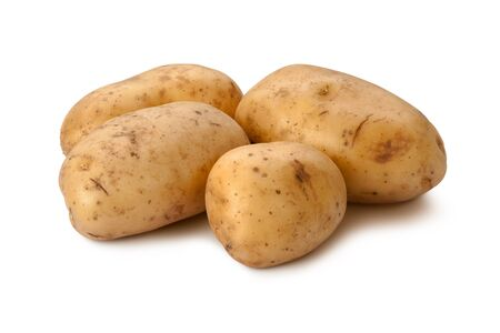 yukon: Yukon Gold Potatoes isolated on a white background. Stock Photo