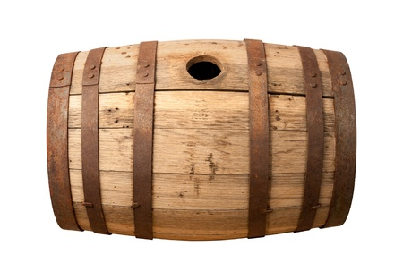 Old Wooden Barrel isolated on white with a clipping path.
