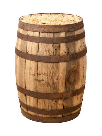 old items: Old Time Cracker Barrel isolated with a clipping path. Crackers were just shipped as generic items in barrels to general stores in North America, where they would be sold by the handful.