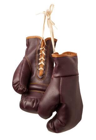 work glove: Vintage Boxing Gloves isolated on a white background Stock Photo