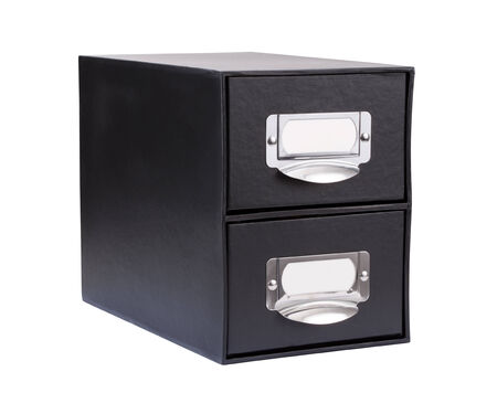 file cabinet: Black Cardboard File Drawer isolated on white with a clipping mask.