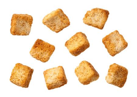 Croutons geïsoleerd op een witte. Stockfoto