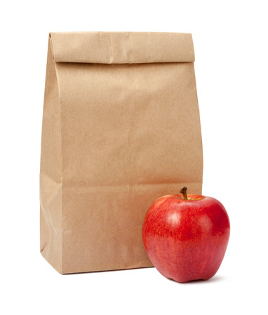 Brown Bag Lunch with a red apple 스톡 콘텐츠