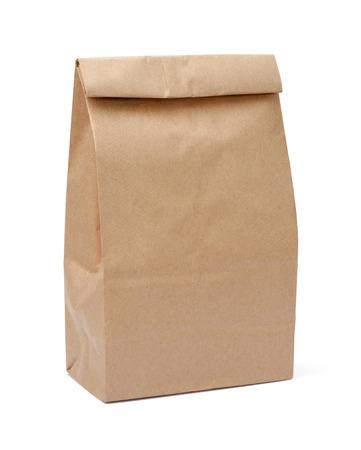 白で隔離ブラウン ランチ バッグ