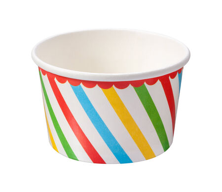 white cream: Ice Cream Cup isolated on a white background with a clipping path. Stock Photo